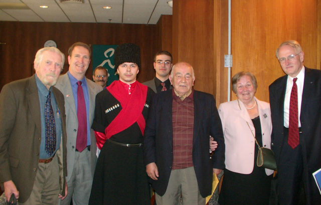 """A picture of Paul B. Henze, Jamestown President Glen Howard and Kemal Karpat (farthest to the left, second to the left, and third from the right, respectively) at Jamestown's 2007 event, """"The Circassians: Past, Present, and Future""""; Kemal Karpat; Paul B. Henze."""
